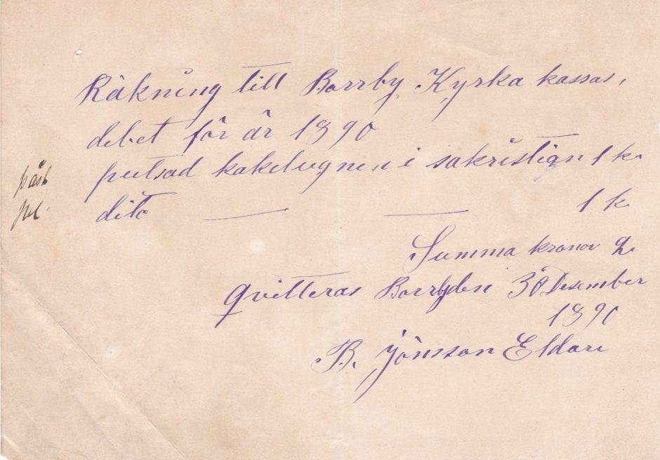 Räkning till Borrby kyrka 1890