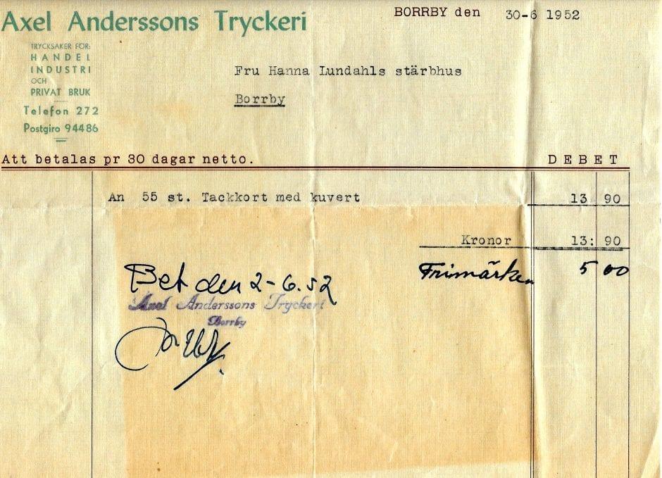 A Anderssons Tryckeri räkning 1952