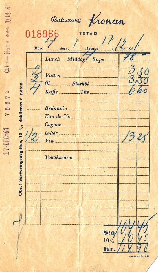 Nota restaurang Kronan Ystad 1961